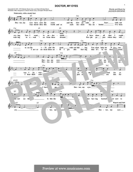 Doctor My Eyes By J Browne Sheet Music On Musicaneo