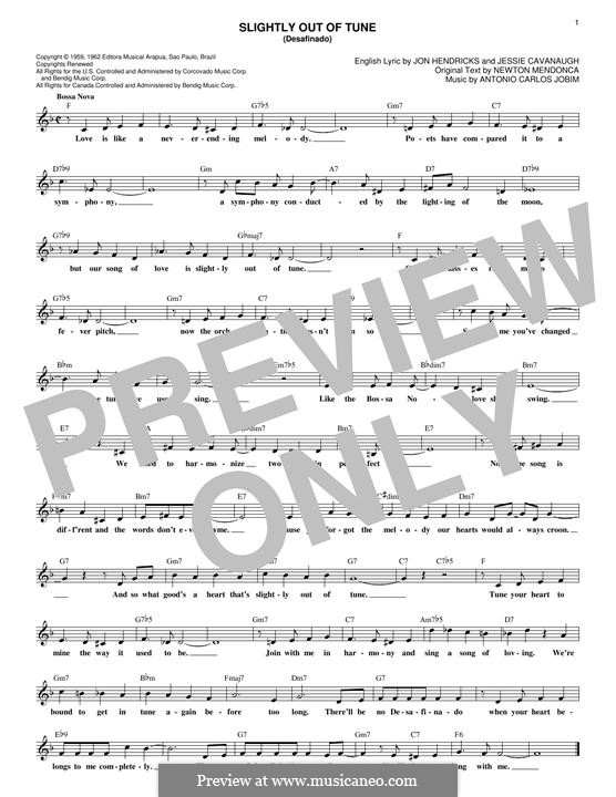 Desafinado (Slightly Out of Tune): Melody line by Antonio Carlos Jobim