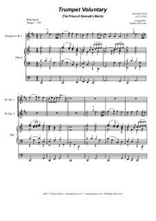 Prince of Denmark's March (Trumpet Voluntary): Duet for Bb-trumpet - organ accompaniment by Jeremiah Clarke