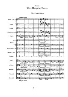 Dance No.1 in G Minor: For orchestra by Johannes Brahms