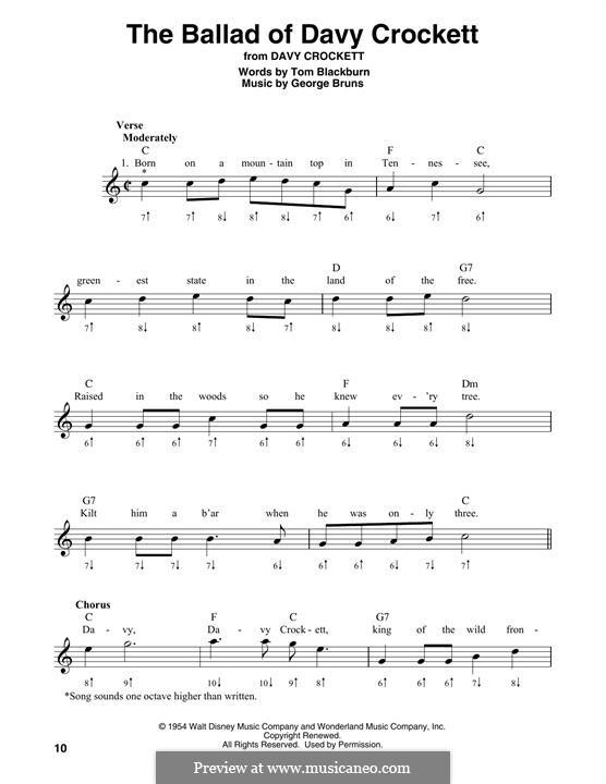 The Ballad of Davy Crockett (from Davy Crockett): For harmonica by George Bruns