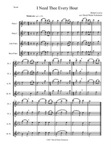 7 Songs of Glory for flute quartet (2 C flutes, alto flute, bass flute): I Need Thee Every Hour by Robert Lowry, William Howard Doane, Charles Wesley, Jr., William Batchelder Bradbury, Charles Hutchinson Gabriel, Edwin Othello Excell, D. B. Towner