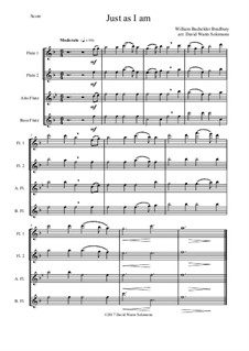7 Songs of Glory for flute quartet (2 C flutes, alto flute, bass flute): Just as I am by Robert Lowry, William Howard Doane, Charles Wesley, Jr., William Batchelder Bradbury, Charles Hutchinson Gabriel, Edwin Othello Excell, D. B. Towner