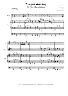 Prince of Denmark's March (Trumpet Voluntary): Duet for flute and Bb-clarinet - organ accompaniment by Jeremiah Clarke