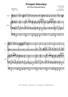 Prince of Denmark's March: Duet for violin and cello - organ accompaniment by Jeremiah Clarke