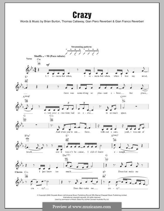 Crazy (Gnarls Barkley): For ukulele by Brian Burton, Gian Piero Reverberi, Gianfranco Reverberi, Thomas Callaway