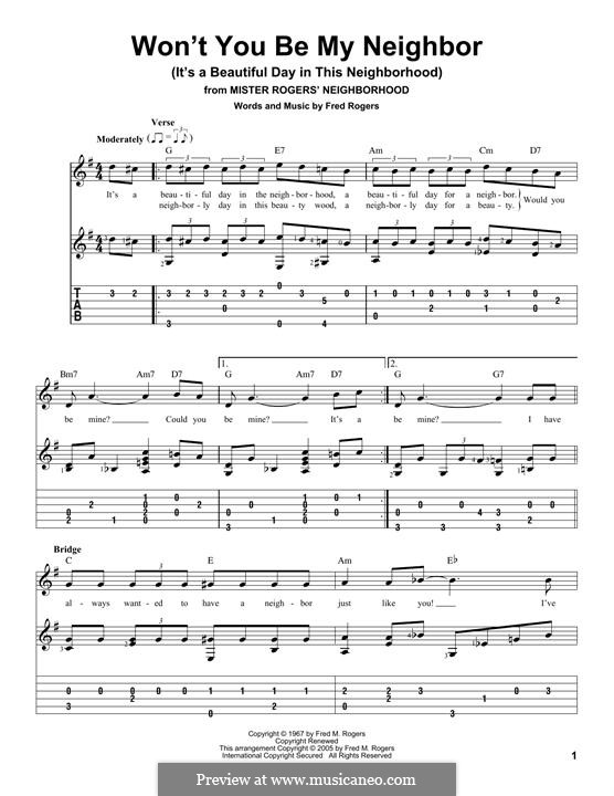 Won't You Be My Neighbor? (It's a Beautiful Day in the Neighborhood): For guitar with tab by Fred Rogers