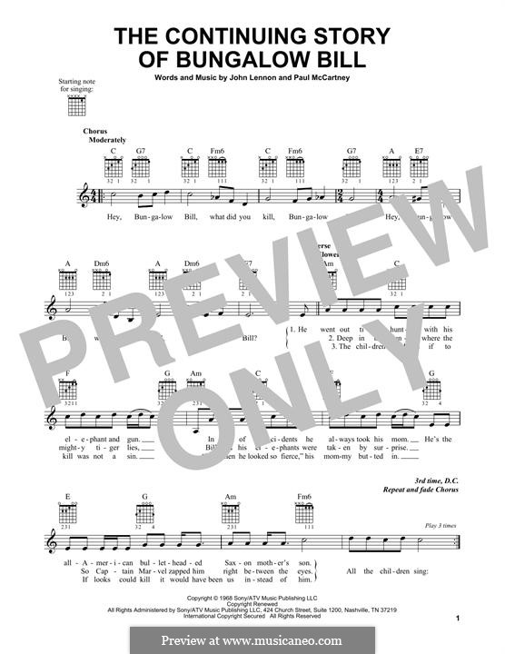 The Continuing Story of Bungalow Bill (The Beatles): For guitar with tab by John Lennon, Paul McCartney