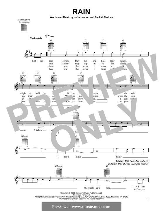 Rain (The Beatles): For guitar with tab by John Lennon, Paul McCartney