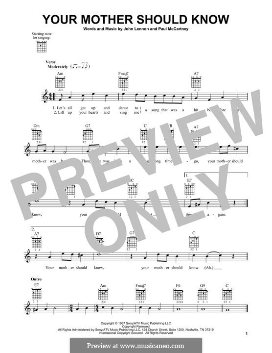 Your Mother Should Know (The Beatles): For guitar with tab by John Lennon, Paul McCartney