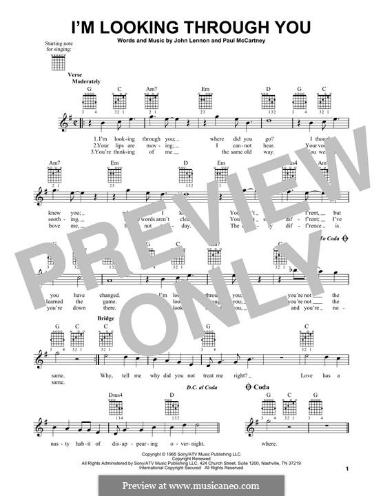 I'm Looking Through You (The Beatles): For guitar with tab by John Lennon, Paul McCartney
