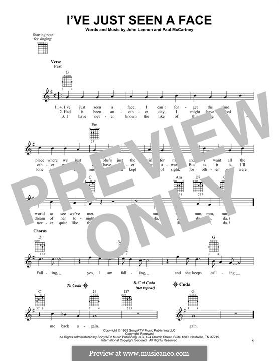 I've Just Seen a Face (The Beatles): For guitar with tab by John Lennon, Paul McCartney