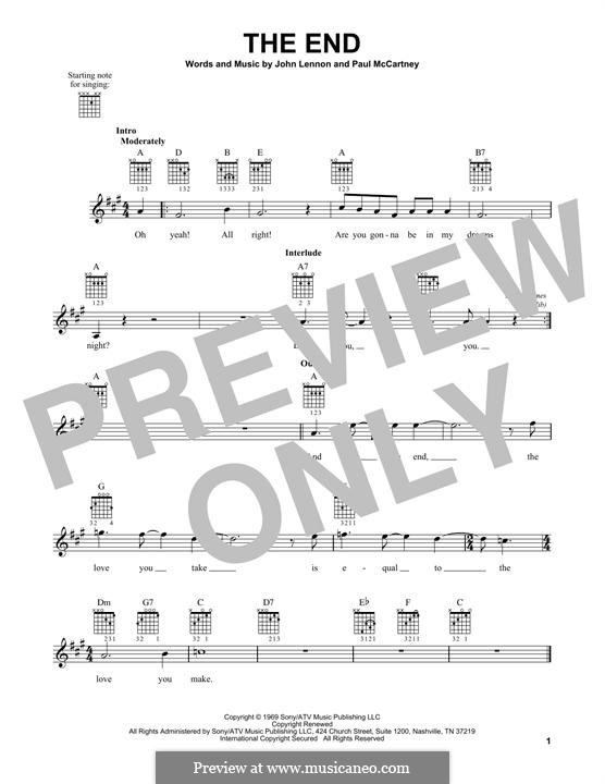 The End (The Beatles): For guitar with tab by John Lennon, Paul McCartney