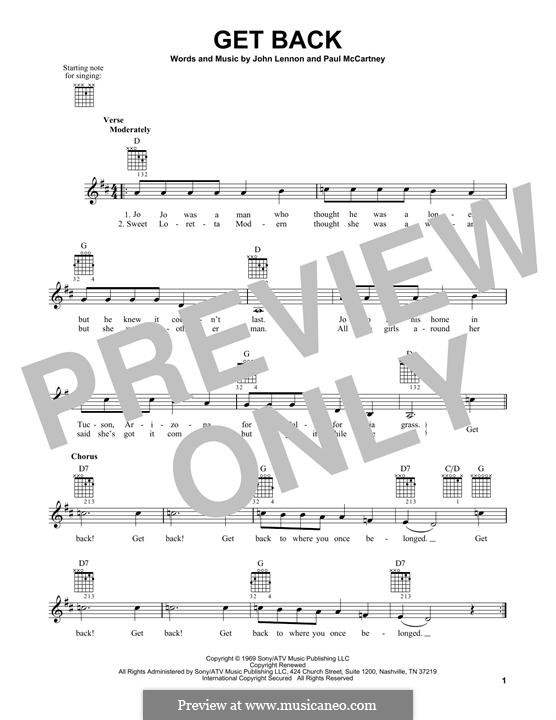 Get Back (The Beatles): For guitar with tab by John Lennon, Paul McCartney