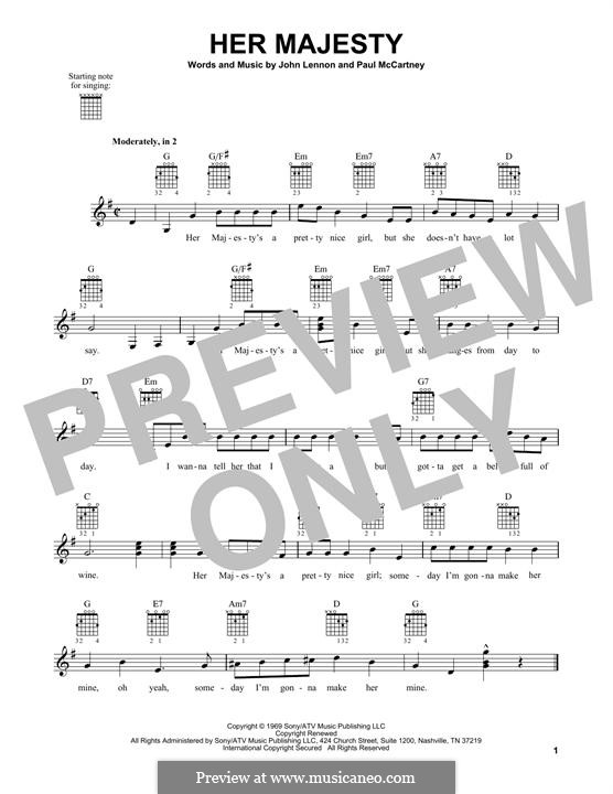Her Majesty (The Beatles): For guitar with tab by John Lennon, Paul McCartney