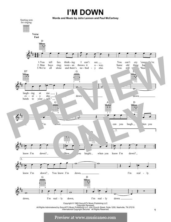 I'm Down (The Beatles): For guitar with tab by John Lennon, Paul McCartney