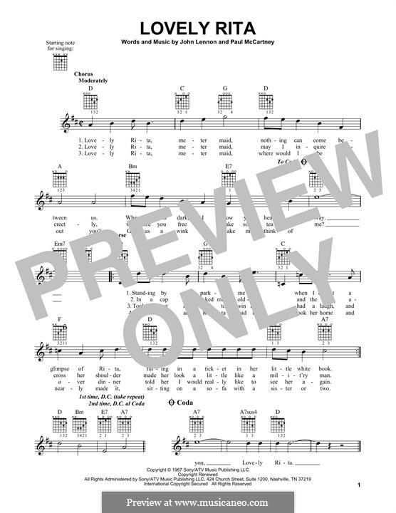 Lovely Rita The Beatles By J Lennon P Mccartney On Musicaneo