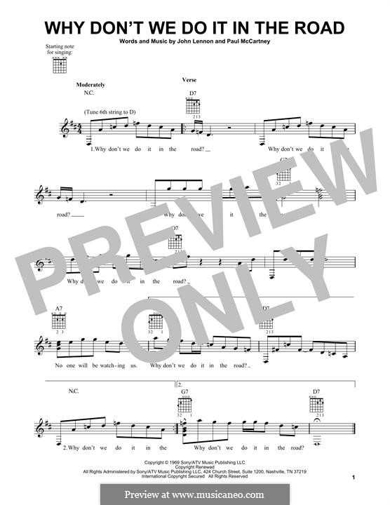 Why Don't We Do It in the Road (The Beatles): For guitar with tab by John Lennon, Paul McCartney