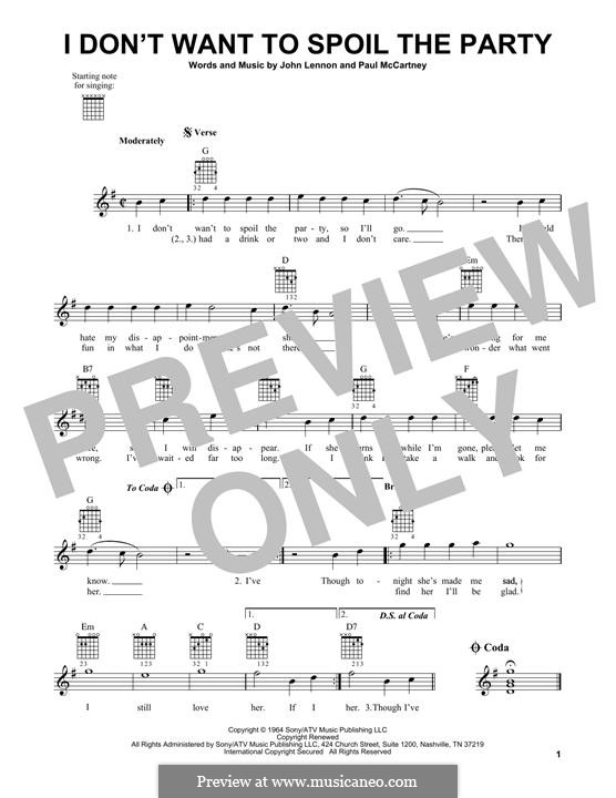 I Don't Want To Spoil the Party (The Beatles): For guitar with tab by John Lennon, Paul McCartney