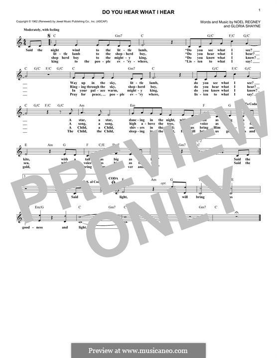 Do You Hear What I Hear: Melody line by Gloria Shayne, Noël Regney