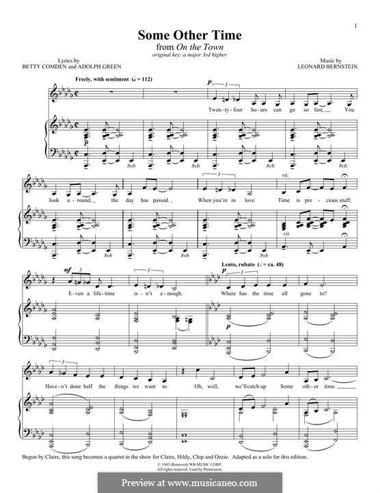 Some Other Time (from On The Town) : For voice and piano by Leonard Bernstein