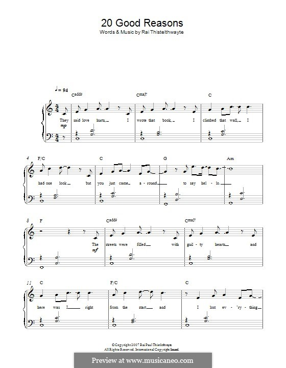 20 Good Reasons (Thirsty Merc): For piano by Rai Thistelthwayte