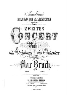 Violin Concerto No.2 in D Minor, Op.44: Full score by Max Bruch