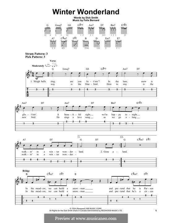 Winter Wonderland: For guitar with tab by Felix Bernard