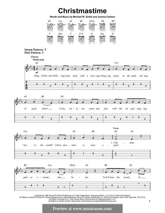 Christmastime: For guitar with tab by Joanna Carlson, Michael W. Smith