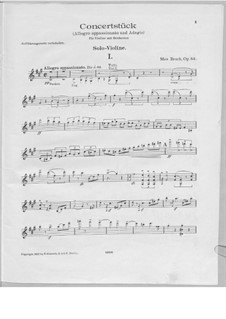 Concert Piece for Violin and Orchestra in F Sharp Minor, Op.84: Solo part by Max Bruch