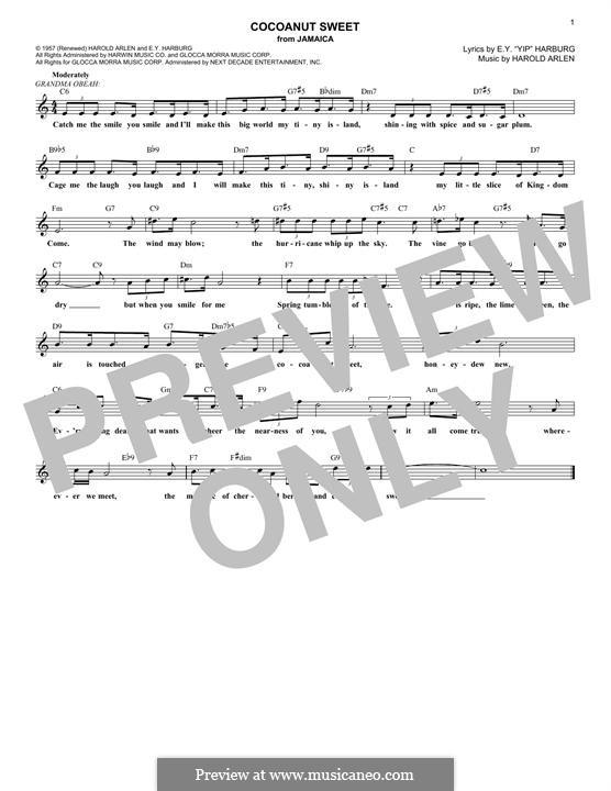 Cocoanut Sweet: Melody line by Harold Arlen