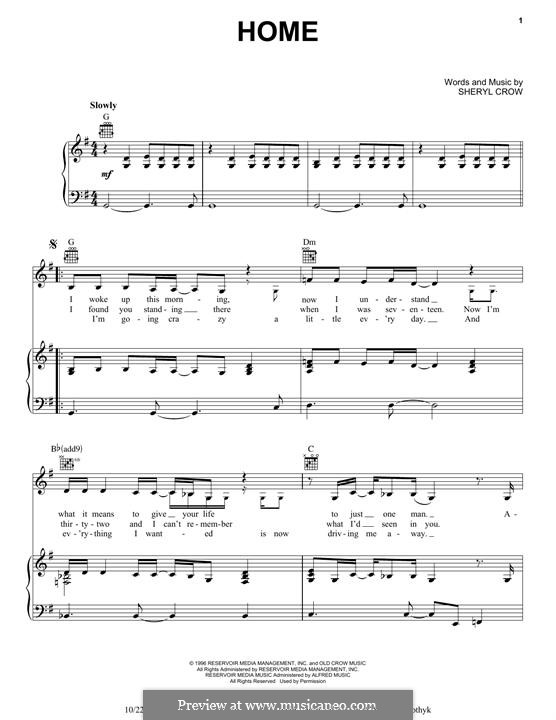 Home: For voice and piano (or guitar) by Sheryl Crow