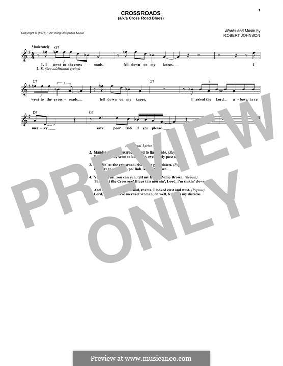 Cross Road Blues (Crossroads): Melody line by Robert Leroy Johnson