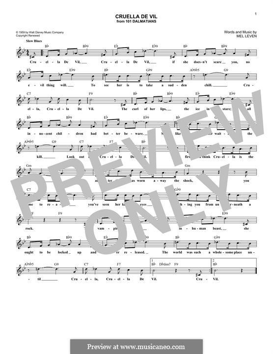 Cruella de Vil: Melody line by Mel Leven