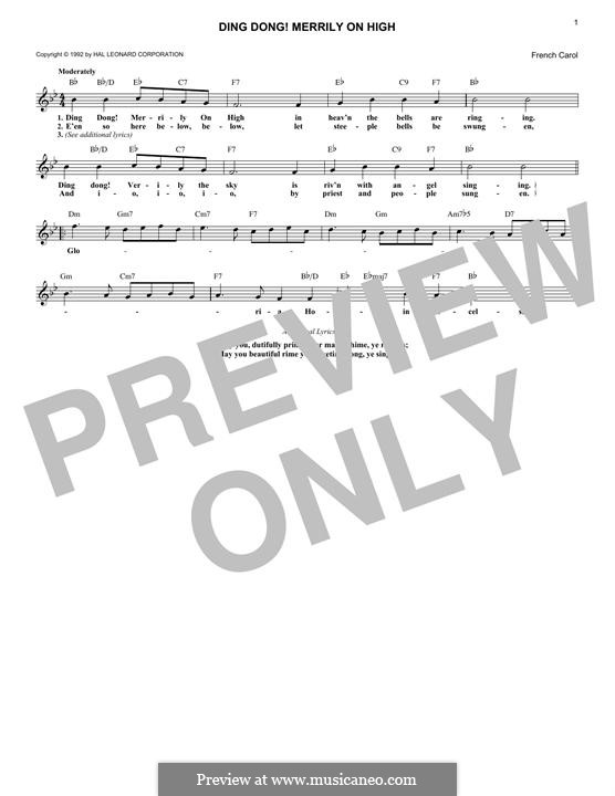 Ding Dong! Merrily on High (Printable Scores): Melody line by folklore