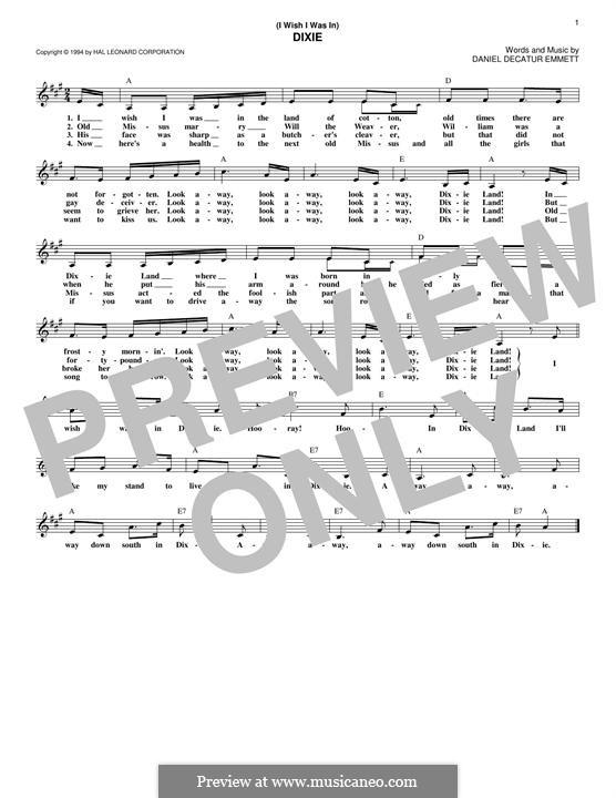 Dixie: Melody line by Daniel Decatur Emmett