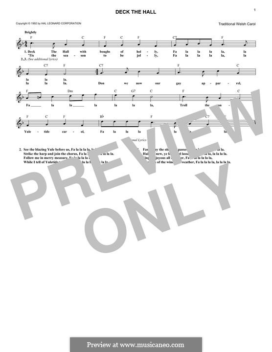Deck the Hall (Printable): Melody line by folklore