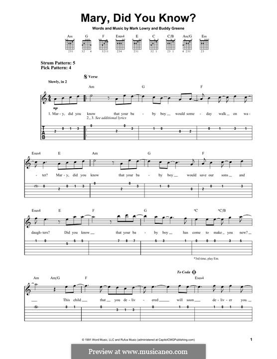 Mary Did You Know?: For guitar with tab by Bud Green