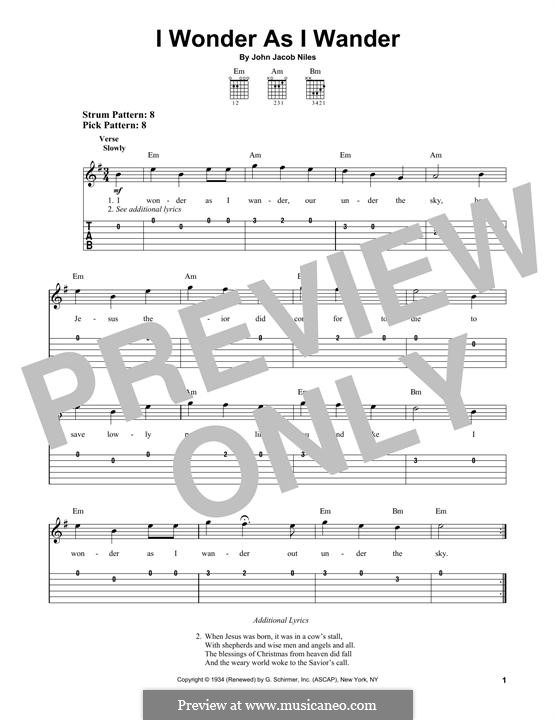 I Wonder as I Wander: For guitar with tab by John Jacob Niles