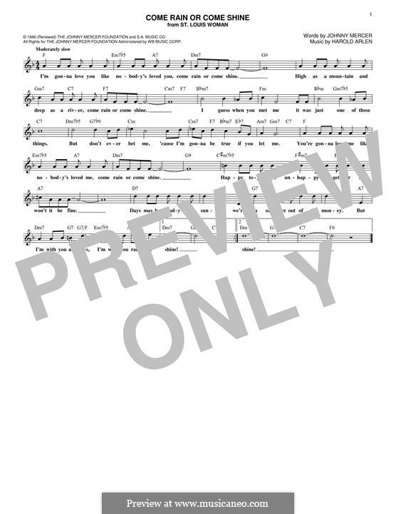 Come Rain or Come Shine: Melody line by Harold Arlen