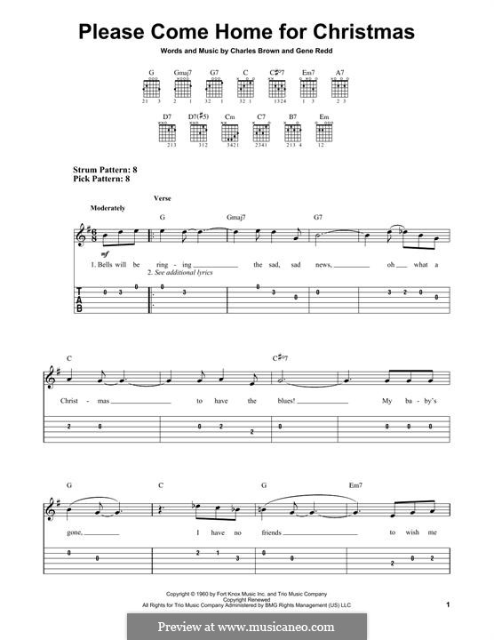 Please Come Home for Christmas (The Eagles): For guitar with tab by Charles Brown, Gene Redd