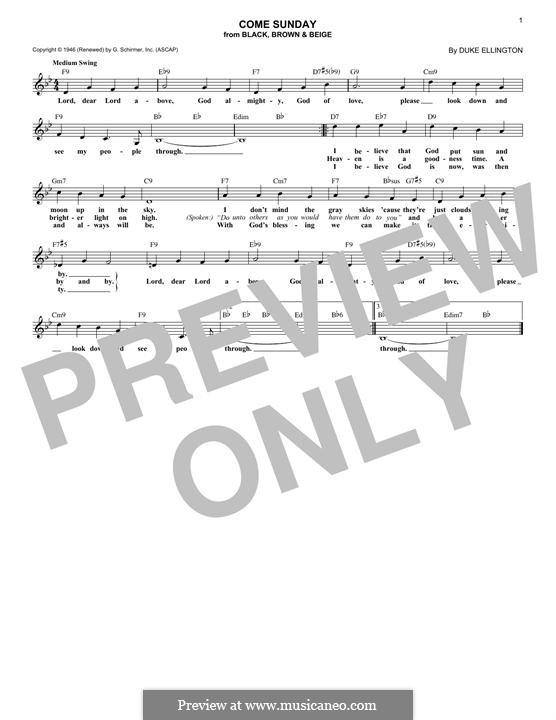 Come Sunday: Melody line by Duke Ellington