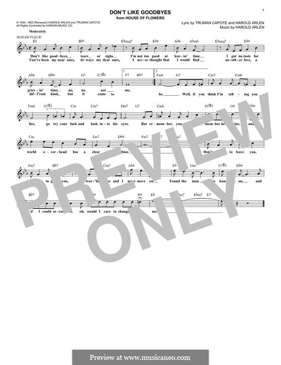 Don't Like Goodbyes: Melody line by Harold Arlen