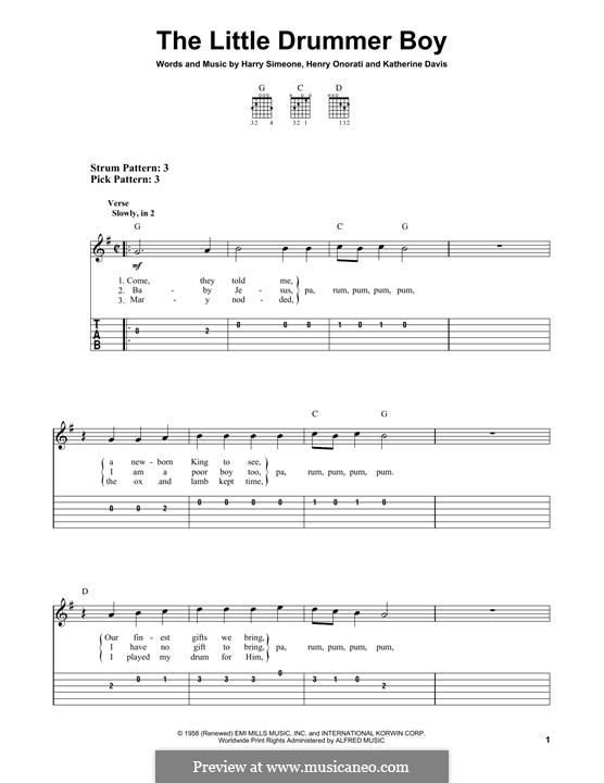 The Little Drummer Boy: For guitar with tab by Harry Simeone, Henry Onorati, Katherine K. Davis