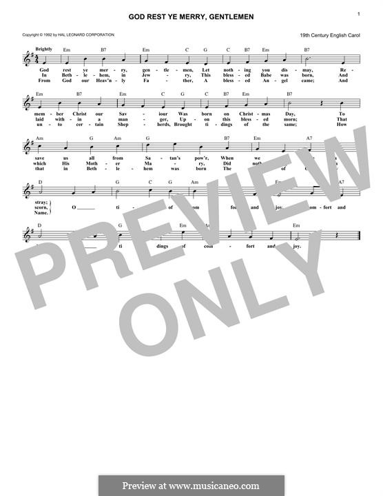 God Rest You Merry, Gentlemen (Printable Scores): Melody line by folklore