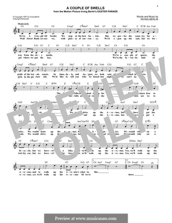 A Couple Of Swells: Melody line by Irving Berlin