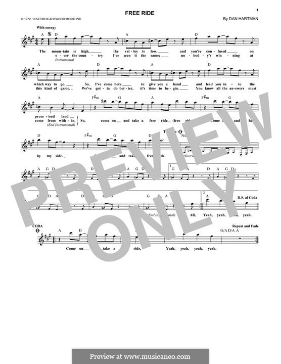Free Ride (Edgar Winter Group): Melody line by Dan Hartman