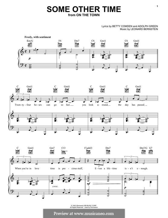 Some Other Time (from On The Town) : For voice and piano (or guitar) by Leonard Bernstein