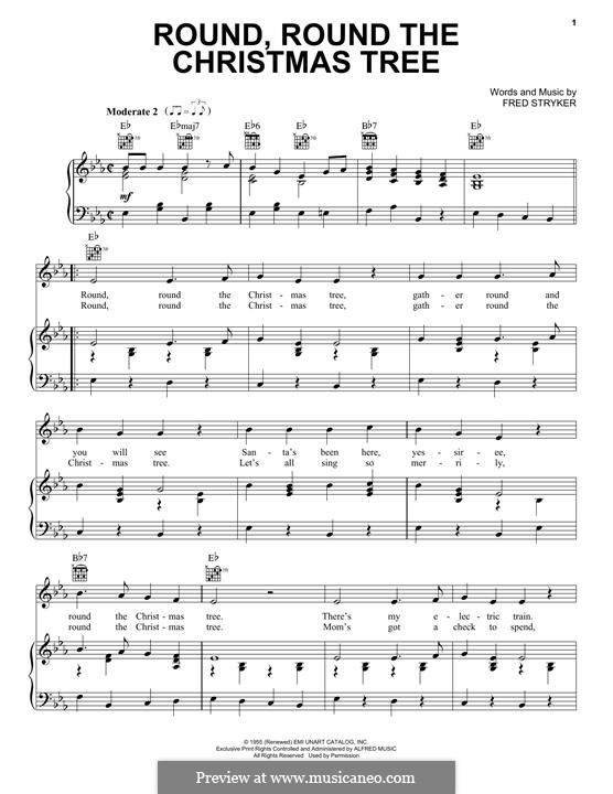 Round, Round the Christmas Tree: For voice and piano (or guitar) by Fred Stryker