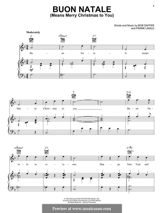 Buon Natale (Means Merry Christmas To You): For voice and piano (or guitar) by Bob Saffer, Frank Linale
